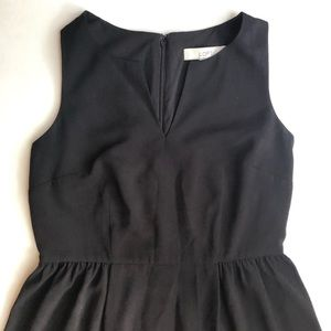 Loft Black Split Neck Sleeveless Dress